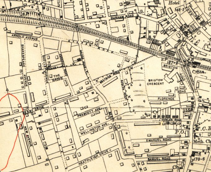 Beatrice Road and surrounding area 1938   Ordnance Survey Office.