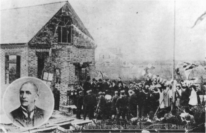 Isaac Levy laying a memorial stone at the church on corner of Emanuel Road 1907.