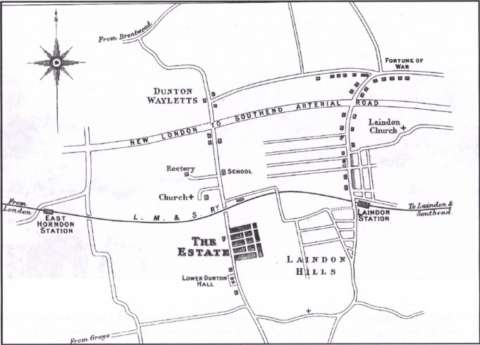 The Dunton Estate. The four avenue layout, with Central Avenue and Hillcrest Avenue are shown in black 4th Avenue is the most Southern
