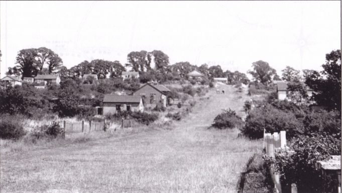 Fourth Avenue, looking uphill, taken from outside the Young bungalow, opposite the junction with Central Avenue. The bungalows look complete and the Avenue grassy and free of ruts, which would date this picture from about 1948.