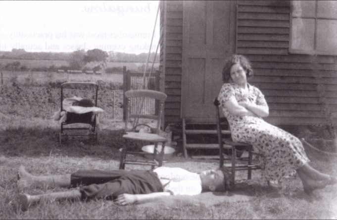 This must be the earliest snapshot that has survived, taken around 1930. Auntie Aggie is sitting and her husband Albert lying down in the sun. The shed is recognisable, the gate and background is unfamiliar. It could be that the shed started in a different position to what the author remembers. It may be the author asleep in the pushchair.