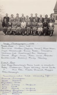 Teaching Staff 1957/58.  The date written on this photo (1956) is incorrect.  I was in Mrs Sparey's class in 1957, she left in summer of 1957 same as me.  Dick Devine (my Uncle) also left in the summer of 1957. | Thanks to Ina Pike