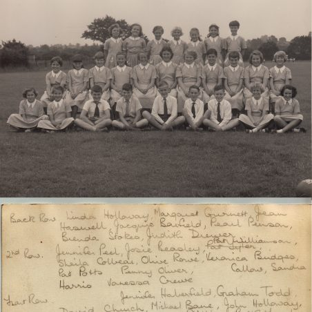 Choir 1957-58. Second row, first left, should read Jennifer Peall not Peel. Front row, first left is Marion Irish. | Thanks to Ina Pike