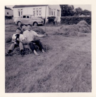 My dad, my brother Alan and nephew Paul hay making | Nina Humphrey