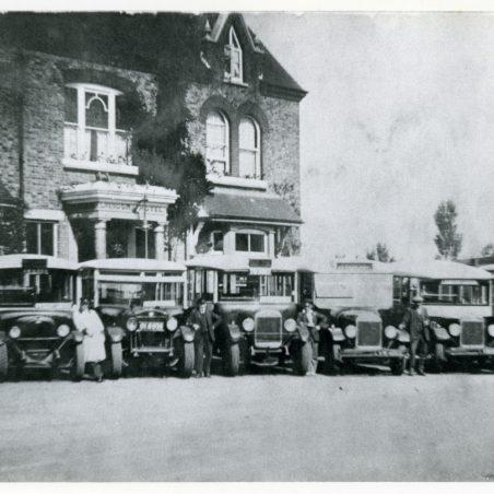 Old Tom Motor Services - outside Laindon Hotel.   Ann and John Rugg.