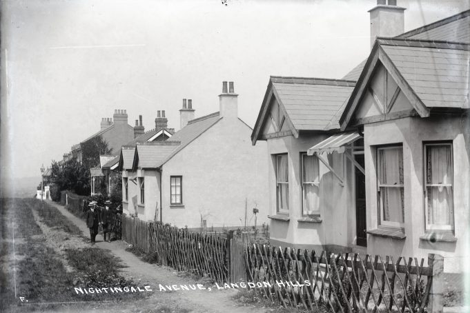 Nightingale Avenue.  White Cottage on the right followed by St. Felix, Oak Lodge, Woodside, Dora Villa, The Gables, Mildmay, Milton House and Edith Villa. | Barry Ellerby