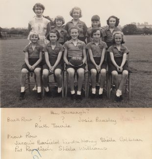 Netball Team 1957-58.  Back row from left are, Miss Ina Pike and Vanessa Crew. Front row, second from left is Sandra Honey - not Linda Honey. | Thanks to Ina Pike