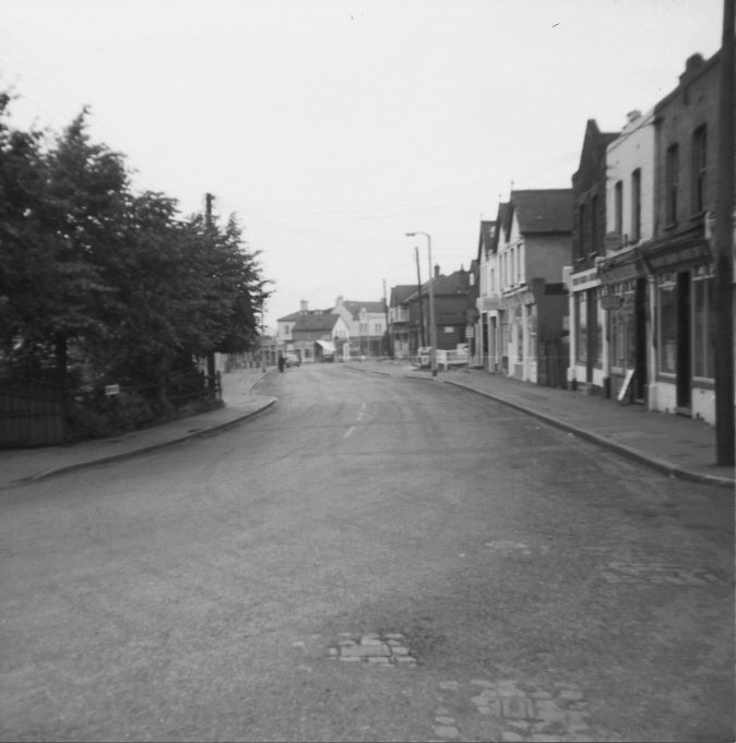Looking down High Road from corner of Winston Hill. Laindon Hotel in centre.
