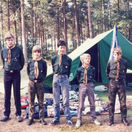 6th Laindon Scout Troop.  'Inspection Time'.  Summer camp Thetford Forest, Norfolk approx 1984/85.  Mark Humphrey on the far left.