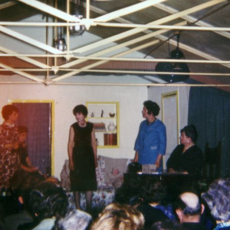 A play photographed in the sixties - note the gas lights were still in position.