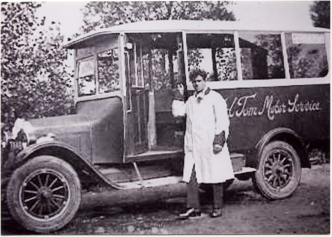 Old Tom Motor Services with driver.   Ann and John Rugg.