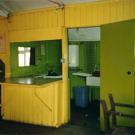 The kitchen area of the hall before the re-decoration in 2003.