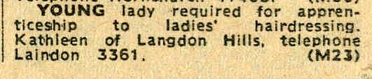 Laindon Shops and Employment - Mid Sixties   Laindon Recorder 1966.