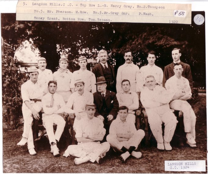 Langdon Cricket Club 1924 - Click on photo to enlarge | Langdon Hills and District Conservation Society