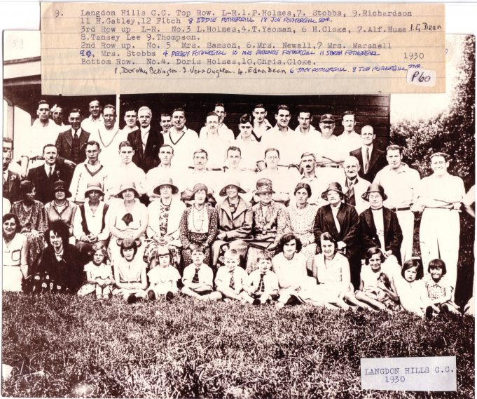 langdon Hills Cricket Club 1930 - Click on photo to enlarge | Langdon Hills and District Conservation Society