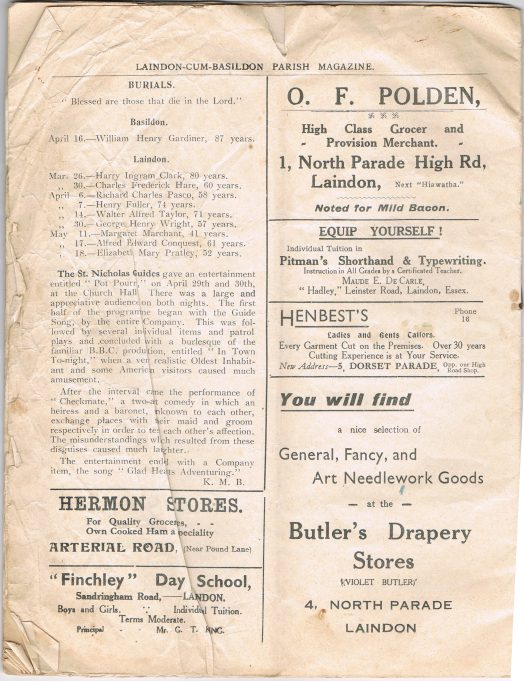 Laindon cum Basildon Parish Magazine June 1938