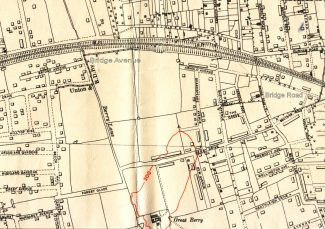 1938 O.S. showing the location of Bridge Avenue and Bridge Road | Ordnance Survey Office.