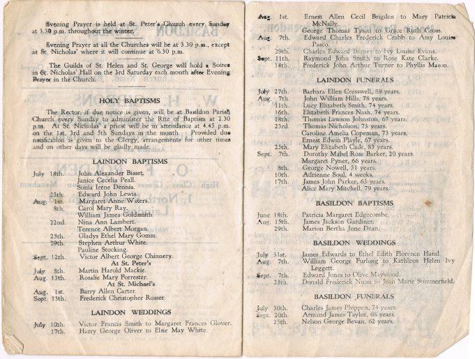 1943 Laindon cum Basildon Parish News
