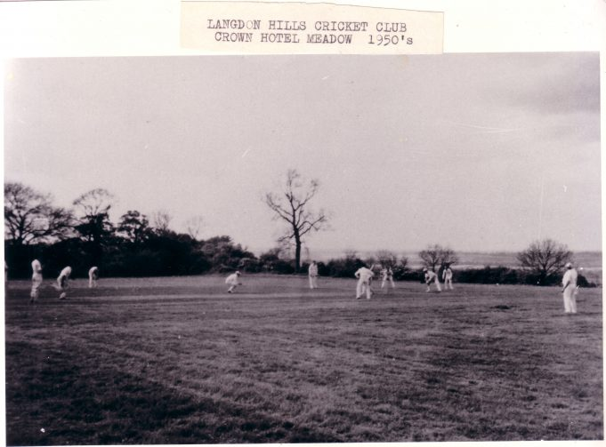 Langdon Hills Cricket Club - Crown Hotel meadow in the 1950's - Click on photo to enlarge | Langdon Hills and District Conservation Society
