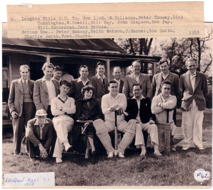 Langdon Cricket Club 1953 - Click on photo to enlarge | Langdon Hills and District Conservation Society