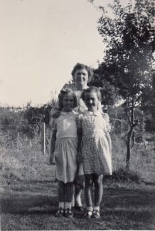 1953 Powell Road in back garden - Me, Mum and Pat Barnett (best friend) Dads greengage fruit tree still there and producing fruit | Patsy Mott (née Tyler)