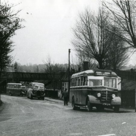 City Coach Company vehicles in Laindon Station yard.   Ann and John Rugg.