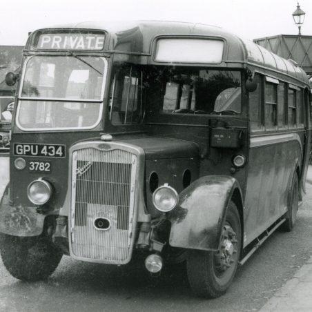 GPU434 - Eastern National vehicle in Laindon Station yard.   Ann and John Rugg.