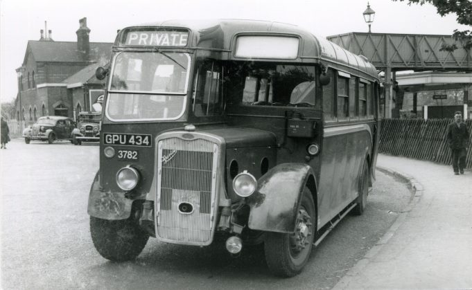 GPU434 - Eastern National vehicle in Laindon Station yard. | Ann and John Rugg.