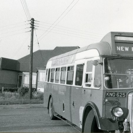 KNO625 - Eastern National bus turning round in Church Road, Laindon.   Ann and John Rugg.