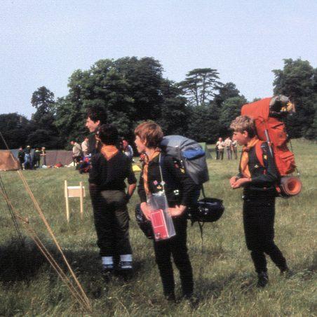 6th Laindon Scout Troop.  Marathon check point 1984.