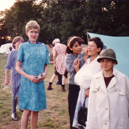 6th Laindon Scout Troop approx. 1985/86.  Preparing their disguises for the forthcoming challenge.  Make-up artiste - Sarah Easterby.