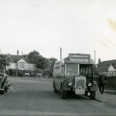 KNO625 - Eastern National bus waiting in Church Road, Laindon.  May 1959 - First day of operation of short journeys on service 258 from Church Road to Laindon Station via Arterial Road and High Road.   Ann and John Rugg.