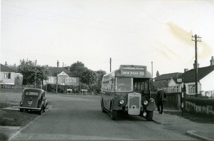 KNO625 - Eastern National bus waiting in Church Road, Laindon.  May 1959 - First day of operation of short journeys on service 258 from Church Road to Laindon Station via Arterial Road and High Road. | Ann and John Rugg.