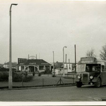 Eastern National bus on Service 254 to Laindon Station at Fortune-of-War roundabout - 1958.   Ann and John Rugg.