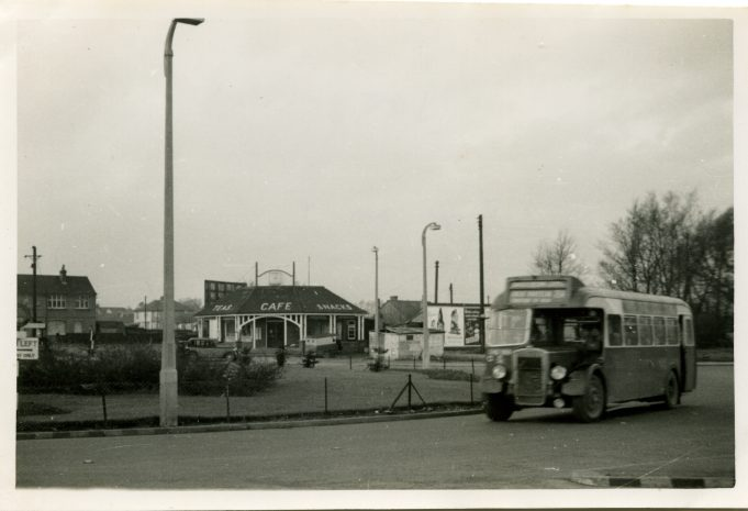 Eastern National bus on Service 254 to Laindon Station at Fortune-of-War roundabout - 1958. | Ann and John Rugg.