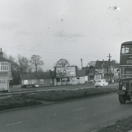 DJN554 - Eastern National bus on service 2a to Romford at Fortune-of-War bus stop.   Ann and John Rugg.