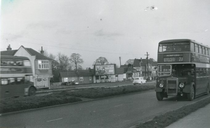 DJN554 - Eastern National bus on service 2a to Romford at Fortune-of-War bus stop. | Ann and John Rugg.
