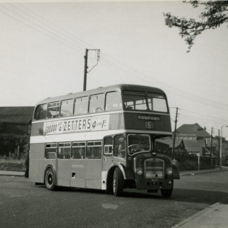 Eastern National bus on service 15 (ex 2a) being the first vehicle to operate along Laindon Link and High Road, Laindon to Romford (June 1961).   Ann and John Rugg.