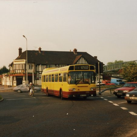 Eastern National (Thamesway) bus on service 154 to Basildon Bus Station at Fortune-of-War roundabout (1991).   Ann and John Rugg.