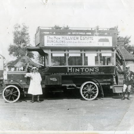 Hinton's Laindon and District Motor Services.  King's Road, Laindon, garaged in Francis's yard.   Ann and John Rugg