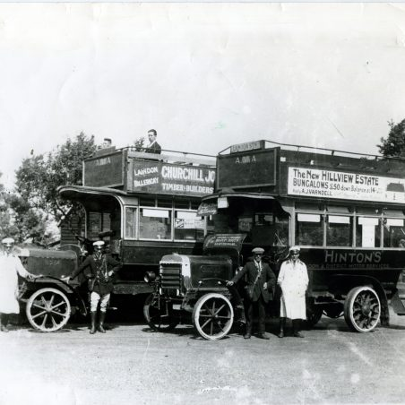 Hinton's (2 vehicles) Mr Hinton senior - Mr Nuttall - Bill Patrick.   Ann and John Rugg