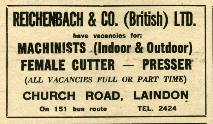 Laindon Shops and Employment - Mid Sixties   Laindon Recorder 1966