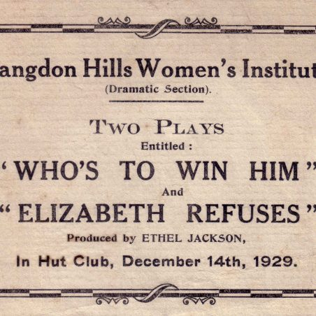 A programme dated 1929 showing the hall as the 'Hut Club'.