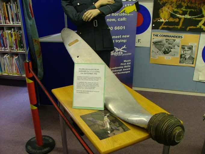 Propeller from the crashed Dornier bomber displayed at Billericay Library - date unknown. | Ken Porter