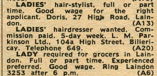 Laindon Shops and Employment - Mid Sixties | Laindon Recorder 1966