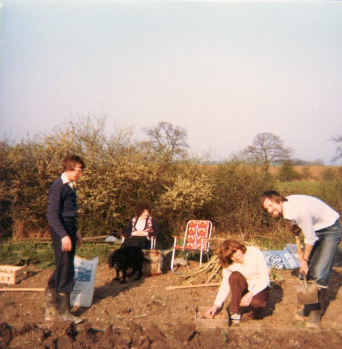 Looking eastward from the allotment.  From Left, Paul Humphrey, sister-in-law to be Maureen Bond, myself and Colin. | Nina Humphrey