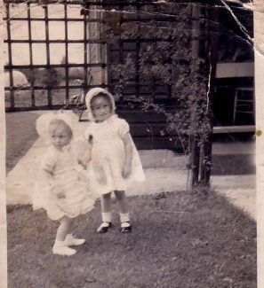 Me in the black shoes with Cousin Toni Devine outside our Grandparent's bungalow 'Pendennis'. 1941/42. | Anne Burton