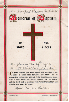 Winifred Archibald's Baptism Certificate