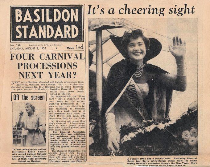 Joan Bartle 1958 Carnival Queen. | Basildon Standard