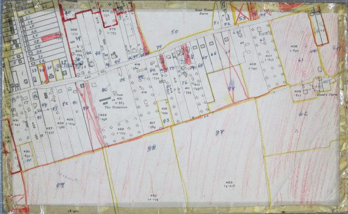 No. 48 - Laindon Park Post Office. No. 47 - St. Petres.  No. 46 - The Ferns. No. 45 - Beechcroft.  No. 44 - Rosedale.  No. 43 - part of Hollybank. No. 42 - Hollybank. | BDC 1949 Survey